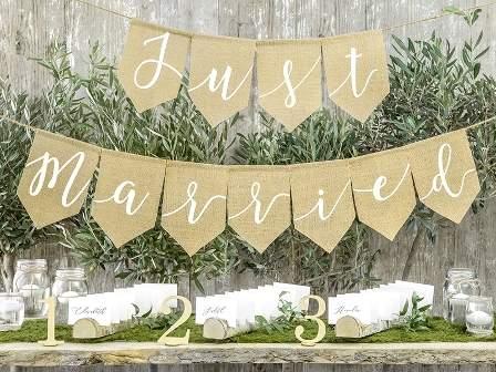 Just Married óriás, juta felirat (23*185 cm)-GRL42