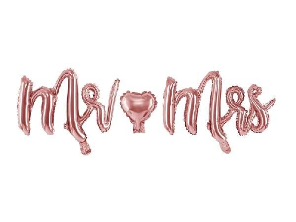 Fólia lufi felirat rosegold ( Mr. és Mrs )