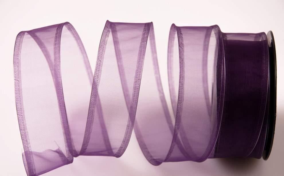 organza szalag drótos széllel lila (4 cm * 9,1 m)