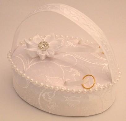 gyűrűtaró kosárka (15 cm) , fehér gyöngyös (16440)