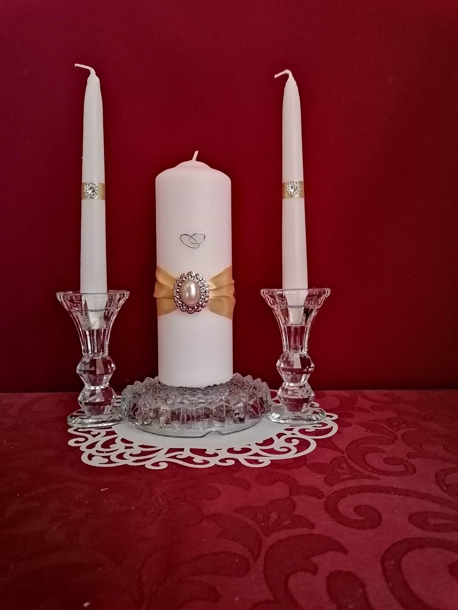 esküvői gyertyaszett arany díszítéssel (3 részes)