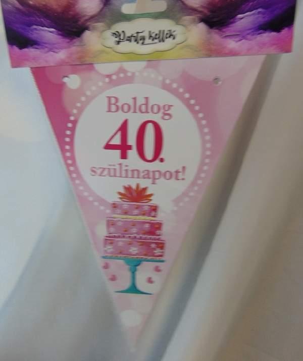 Boldog 40. születésnapot zászlógirland, rózsaszín (8 db zászló+4 m szalag)