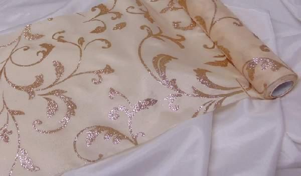 dekorselyem asztali futó indás glitteres, krém-rosegold (25 cm * 5 m)-076