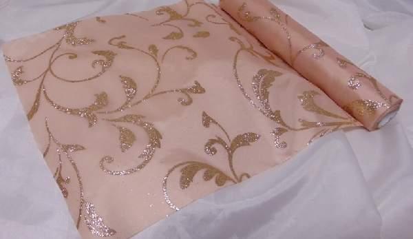 dekorselyem asztali futó glitteres, púder-rosegold (25 cm * 5 m)-612