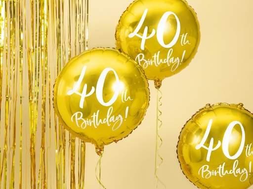 40. születésnapi fólia lufi, arany (45 cm)