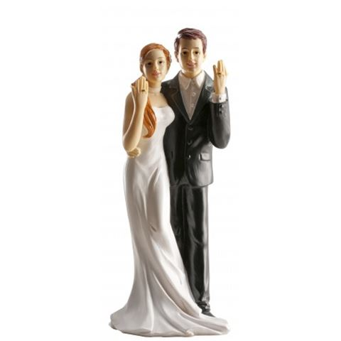 esküvői tortadísz, gyűrűs nászpár (16 cm)-305043