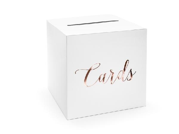 nászajándék gyűjtő doboz  rosegold feliratal (24*24*24 cm)