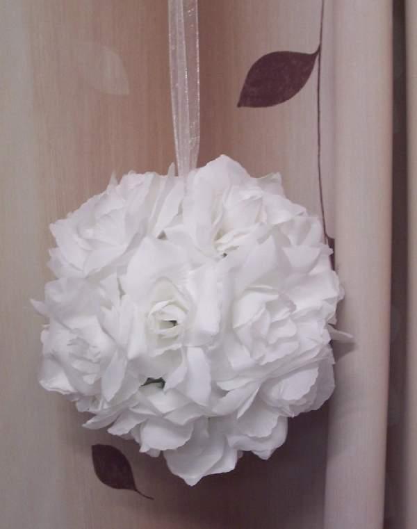 rózsagömb óriás szatén, fehér (35 cm)