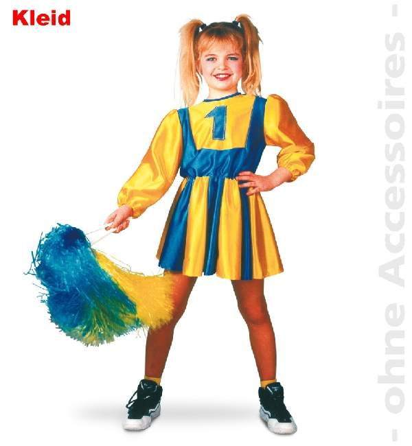 Pom-pom lány jelmez, kék-sárga (116, 128 vagy 140 méret)-11237