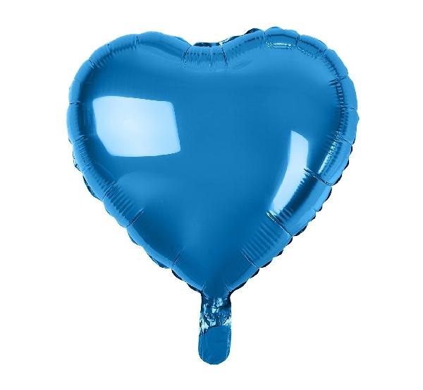 Szív alakú,  kék fólia lufi (45 cm)